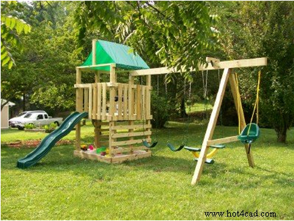 Swing Set With Sandbox And Slide From Hot4Cad.com. DIY Playset Plans